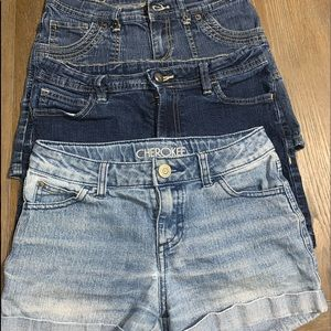 Lot Of 3 Girls Jean Shorts Size 10/12